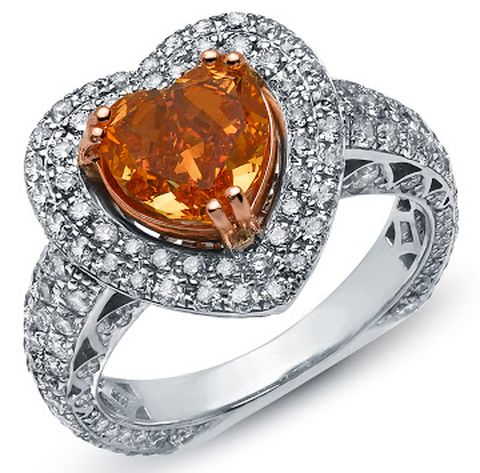 White-gold cluster ring with heart-shaped, fancy vivid orange Lady Orquidea Diamond as centerpiece
