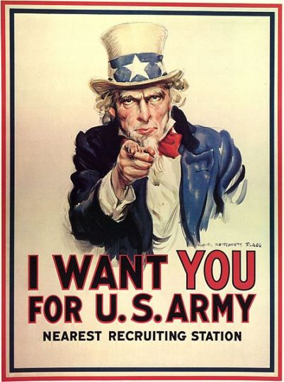 World War I recruiting poster by James Montgomery Flagg