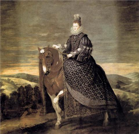 1635 Equestrian portrait of Margaret of Austria, Queen consort of King Philip III of Spain, by Diego Velazquez, depict her wearing a brooch with the La Peregrina pearl as a pendant