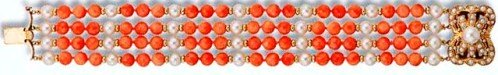 Coral and Cultured Pearl Bracelet