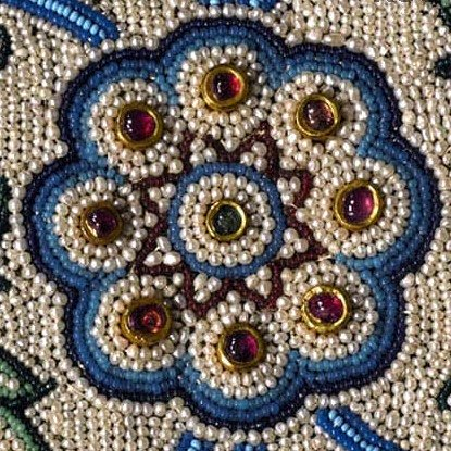 Close up of one of the smaller peripheral rosettes of the Pearl Carpet of Baroda