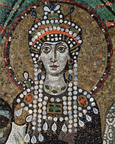 Empress Theodora in a mosaic at St. Vitale in Ravenna.