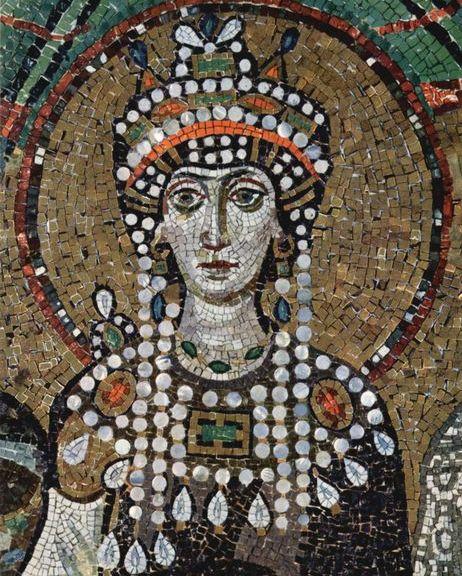 Empress Theodora in a mosaic at St. Vitale in Ravenna.