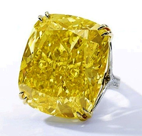 Graff Vivid Yellow diamond in its present ring setting