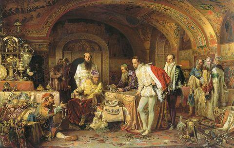 Ivan IV demonstrates his treasurers to the ambassador of Queen Elizabeth I of England, Jerome Horsey