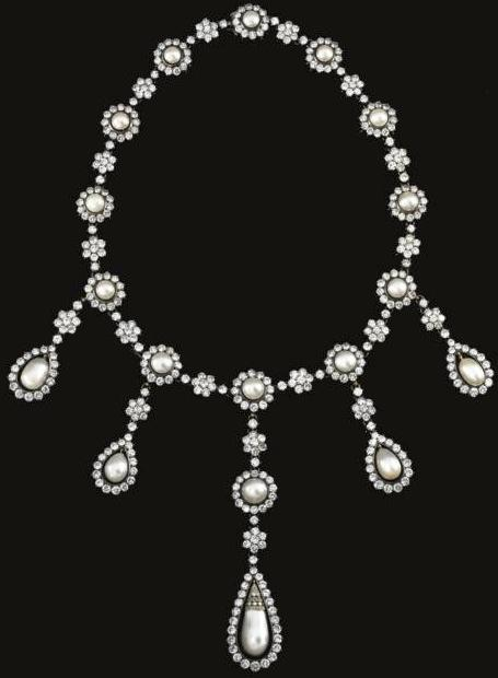 Natural Pearl and Diamond Necklace from the collection of an Italian Noble Family