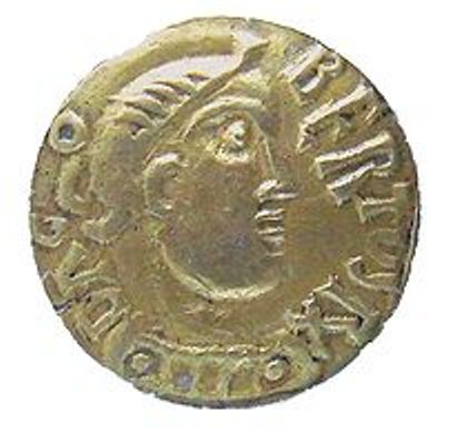Representation of Dagobert I on gold coin minted at Uzes