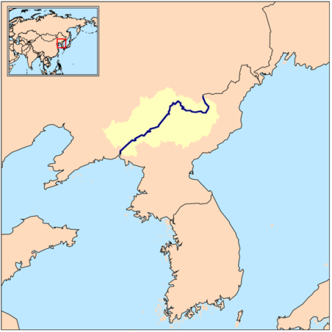Yalu River, border between North Korea and Manchuria, China.