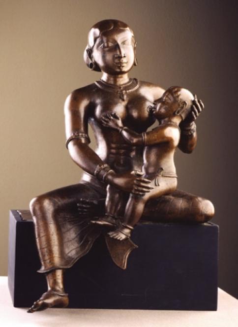 12th-Century South Indian Bronze - Yashoda and Krishna